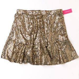 Gold Sequin Skirt - Elastic Waist